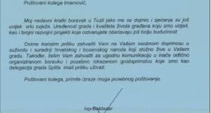 Gradonačelnik Splita uputio pismo zahvale gradonačelniku Tuzle